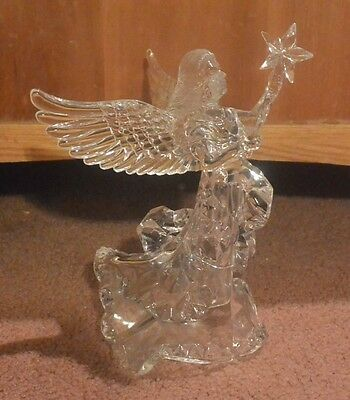 Acrylic Glass Ice Look Angel with Trumpet or Star Tree Top Sterling Christmas