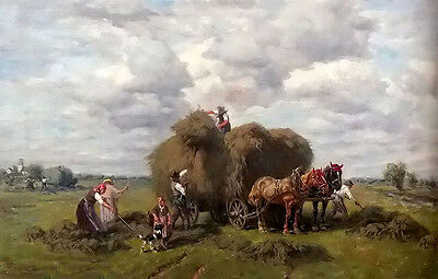 Oil painting Desire Thomassin - the hay harvest farmers in landscape & horses