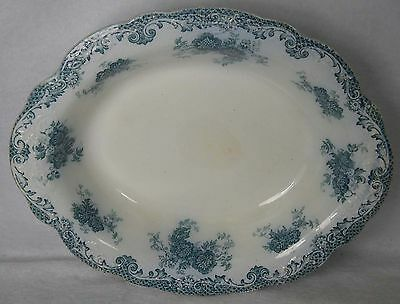 """ALFRED MEAKIN china GLENMERE Blue-Green Oval Vegetatable Serving Bowl 9-3/4"""""""