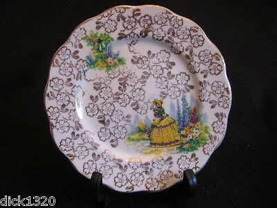 "VINTAGE KINGSTON CHINA (HULL) CRINOLINE 6"" DESSERT PLATE c.60's EX"