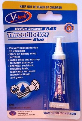 Threadlocker Adhesive 6ml Blue Medium Strength  V-Tech, Locks Bolts and Nuts