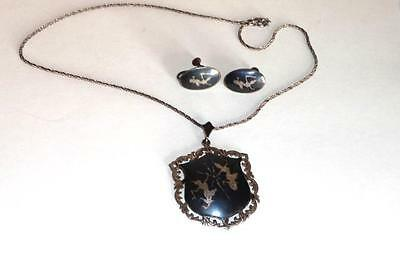 Vintage Sterling Silver, Siam Large Pendant Necklace Chain , & Earrings