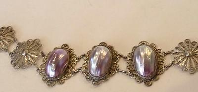 Vintage, Deco- Mexican Sterling Silver & Amethyst Bracelet,Made of Shells