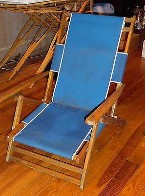 Great Old Oak Frame Reclining Beach Chair