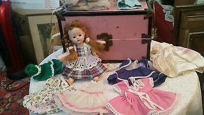 Vintage Lot  Vogue Ginger Doll plus Pink Doll Trunk & Clothes