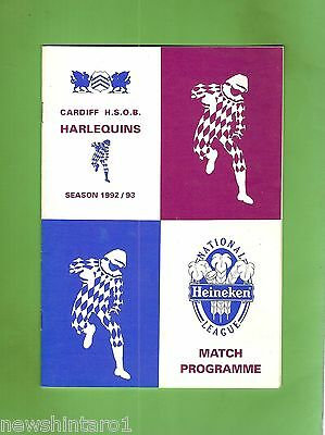 #ss. Rugby Union Program-  1992/93, Cardiff Old Boys Harlequins