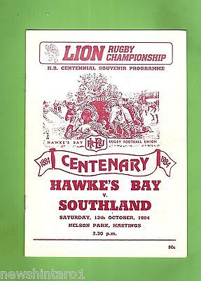 #ss. Rugby Union Program-  13Th October 1984, Hawkes Bay Vs Southland