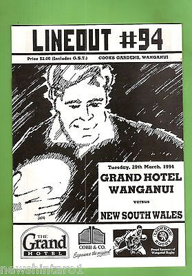 #ss. Rugby Union Program-  29Th March 1994,  Wanganui Vs New South Wales