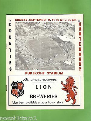 #ss. Rugby Union Program- 9Th September 1979, Counties Vs Canterbury