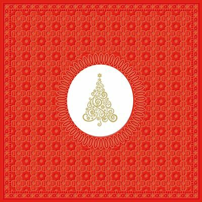 "Swirl Christmas Tree Red Gold Pack Of 20 Paper Napkins Serviettes 13"" X 13"""