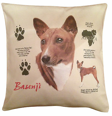 Basenji History Cotton Cushion Cover - Cream or White Cover - Gift Item