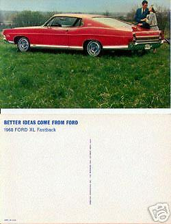 1968 Ford XL Fastback Advertising Postcard