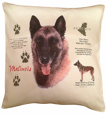 Belgian Malinois History Cotton Cushion Cover - Cream or White Cover - Gift Item