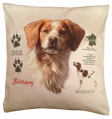 Brittany Spaniel History Cotton Cushion Cover - Cream or White - Gift Item