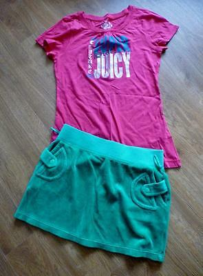 Juicy Couture Girls 2 Piece Outfit Green Velour Skirt & Pink T-shirt Age 10 ch