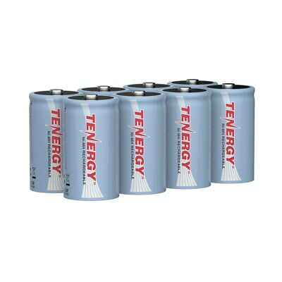 8pcs Tenergy D Size 10000mAh NiMH Rechargeable Batteries Flat Top (No Tabs)