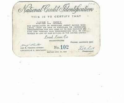 1950 National Credit Identification Card - Local Loan Co, Louisville, Kentucky