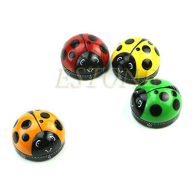 Cute 60 Minute Timer Easy Ladybug Operate Kitchen Useful Cooking Ladybird Shape