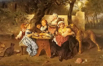 Excellent art Oil painting ludwig knaus - the birthday party family & children