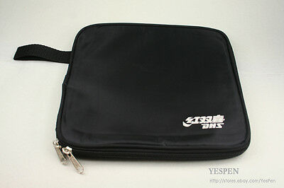 BLACK DHS Ping Pong Paddle Case Square Bag Table Tennis Racket Bat Carry Pouch
