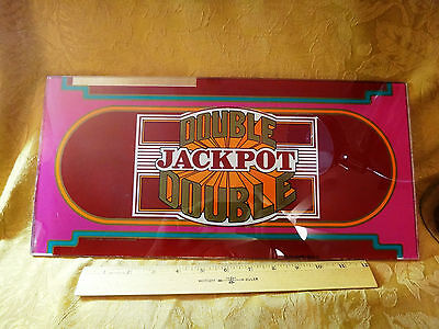Vintage Double Double Jackpot Slot Machine Front Glass Plate *Free S&H USA*