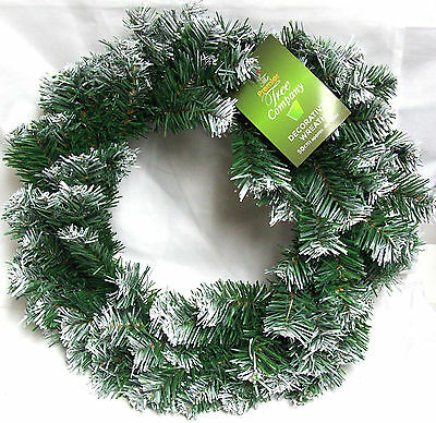Premier 50cm Artificial Frosted Snow Tipped Christmas Wreath Decoration
