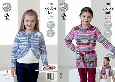 King Cole Girls Tunic Bolero Cardi & Scarf DK Yarn Knitting Pattern 4452