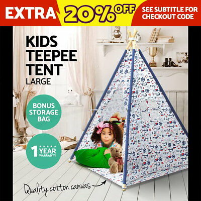 Kids Teepee Tent Cotton Canvas Children Home Pretend Play Outdoor Indoor Large