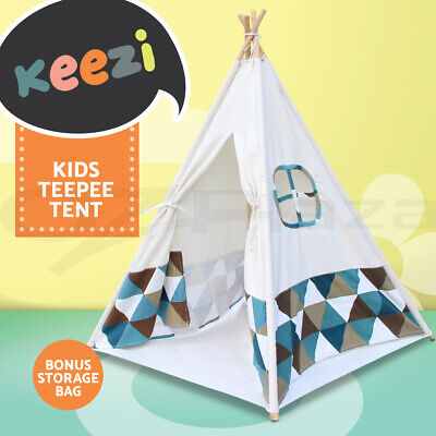 Keezi Large Teepee Tent Kids Canvas Children Playhouse Outdoor Indoor Tipi
