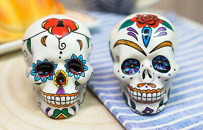 Love Never Dies Sugar Skulls Day Of The Dead Salt Pepper Shakers Set Ceramic