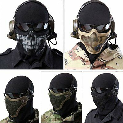 Military Protective Metal Steel Mesh SKULL Mask Half Face Tactical Airsoft Mask