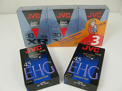 NEW JVC COMPACT VHS VIDEO TAPE CASSETTES - 3 x EC-30 XR & 2 x EC-45 EHG