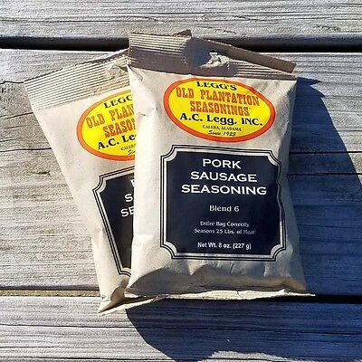 Ac Legg's Old Plantation Sausage Seasoning Blend #6, 2 Packs - Free Shipping