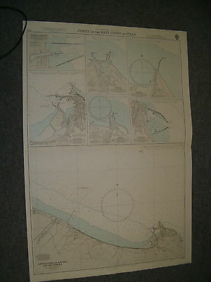 Vintage Admiralty Chart 3212 PORTS ON THE EAST COAST OF ITALY 1977 edn