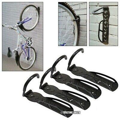 4 x WALL MOUNTED MOUNTABLE CYCLE STORAGE HANGING HOOK BIKE RACK BICYCLE STAND