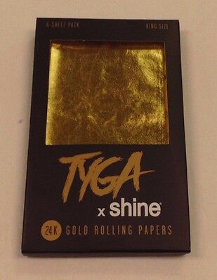 Shine Tyga 24K Gold Cigarette Rolling Papers King Size 6 Leaves Per Pack