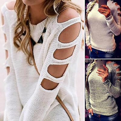 Womens Cut Out Long Sleeve Jumper Pullover Tops Ladies Casual Knitwear Sweater
