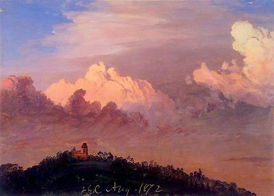 oil painting Clouds over Olana Frederic Edwin Church sunset landscape no framed