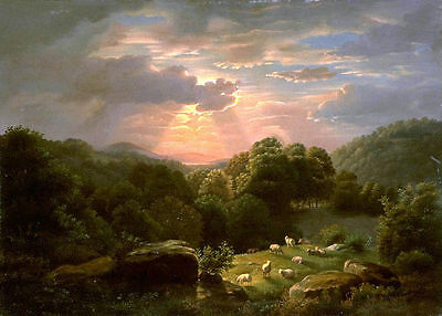 oil painting Robert Ducanson Landscape Sheep with sunset hand painted canvas art