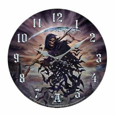 """Tithe To Hell Grim Reaper Bats Wall Clock By Alchemy Gothic Round Plate 13.5""""D"""