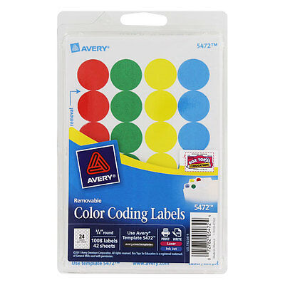 Avery Printable Removable Color Coding Labels 34 Dia Assorted