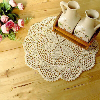 Nice Vintage Beige White Hand Crochet Handmade Doily Table Hollow Cup Mat Pad