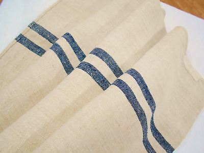 *RARE* Vtg Antique BLACK STRIPE European HEMP LINEN Fabric FEED SACK GRAIN BAG