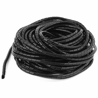 Home TV Cable Wire Manager Spiral Wrapping Band Tidy Wrap 6mm Black