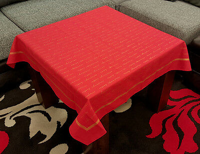 """Lovely Red """"Merry Christmas"""" Gold Printed 100% Cotton Xmas Tablecloth 36"""" Square"""