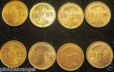 Germany - German 8 Reichspfennig Coin Collection - 1929 to 1936 - WOW