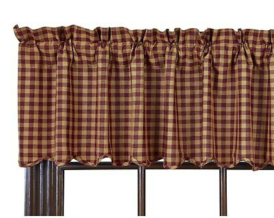 Burgundy Check Valance : Primitive Tan Red Plaid Country Ninepatch Star Window