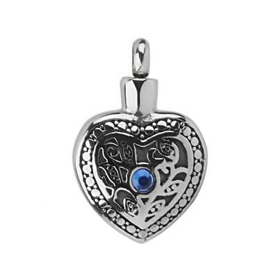 Heart Stainless Urn Cremation Pendant Necklace Keepsake Jewelry Ash Holder