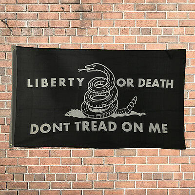 Liberty or Death Don't Tread on Me Black 3'x5' Ft Design Flag Polyester Grommets