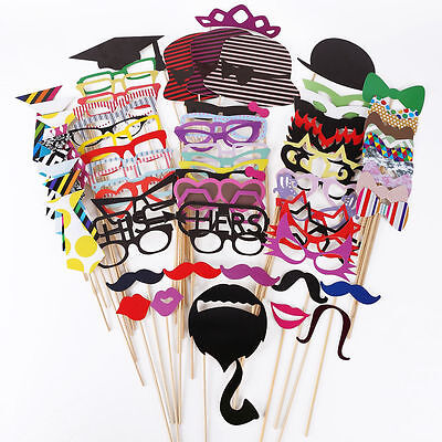 76x Mask DIY Photo Booth Props Mustache On A Stick Wedding Birthday Xmas Party